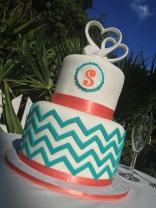 """""""Sara"""" Contemporary coral and teal chevron wedding cake."""