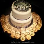 Air Force Ball cake with chocolate coins painted gold