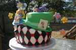 Alice in wonderland topsy turvy birthday cake