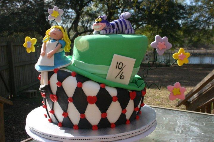 Alice in wonderland topsy turvy birthday cake