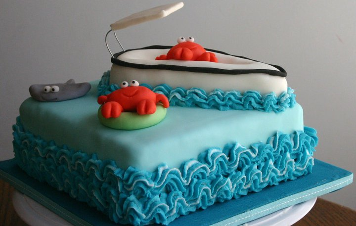 Aqua Blue Crab And Boat Birthday Cake Lolos Cakes Sweets