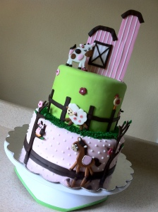 Girly barnyard baby shower cake.  Feeds 25-30.  MSRP $100