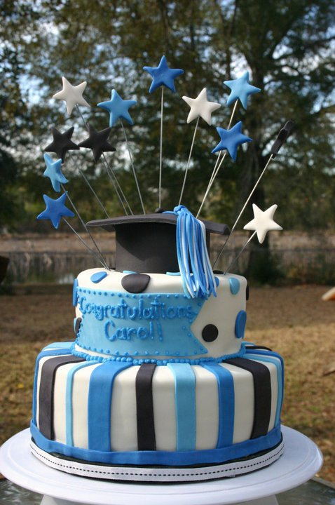 Graduation cake in blue and black. Feeds 30-35. MSRP $120