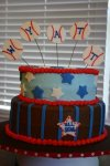 blue and brown All-star baseball baby shower cake