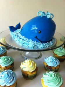 Blue whale 1st birthday smash cake.  Feeds 25.  MSRP $75 (with 24 cupcakes)