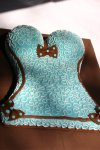 brown and aqua lingerie shower cake
