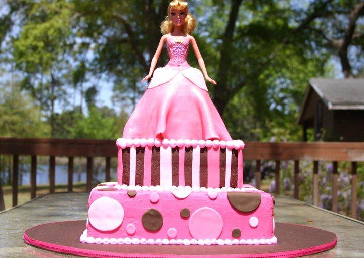 brown and pink princess birthday cake