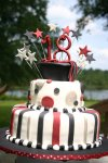 Burgandy and black 18th birthday graduation cake