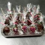 Tray of strawberry pops