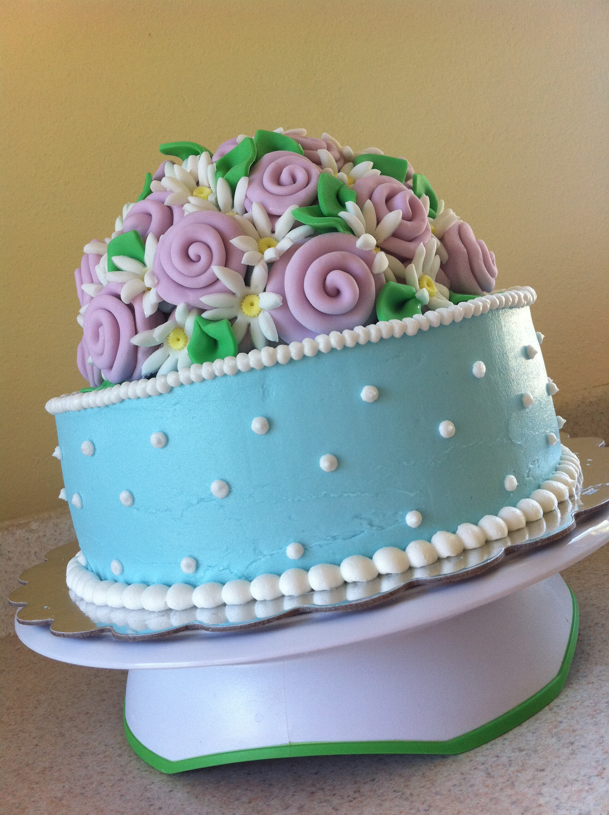 blue and pink antique ribbon rose birthday cake – Lolos Cakes ...