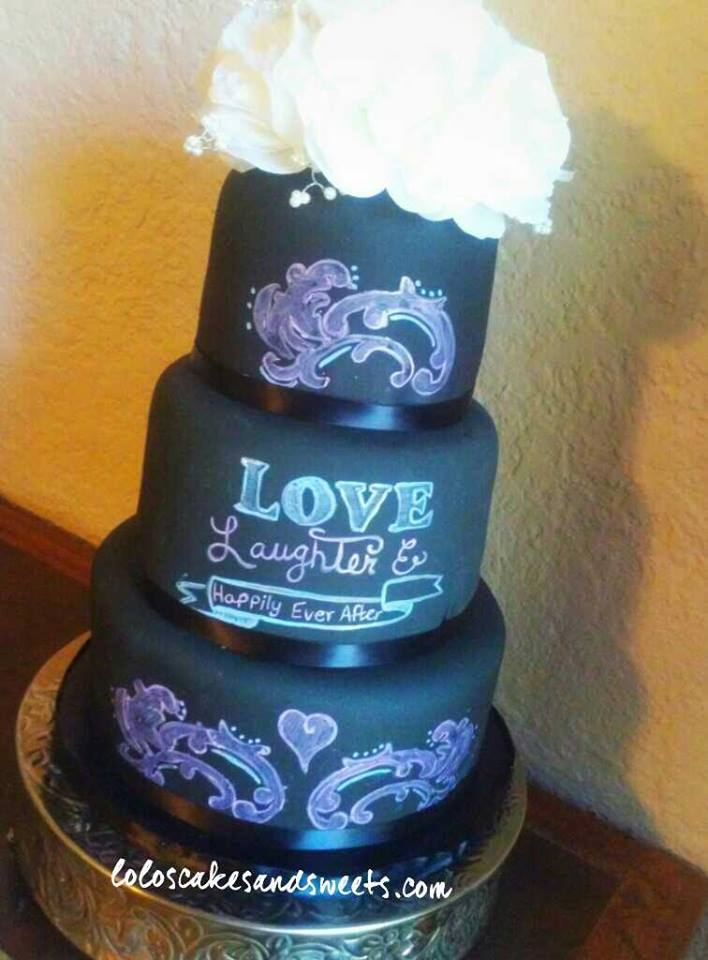 All hand painted Chalkboard wedding cake