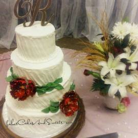 """Beauty"" a simplistic rustic buttercream with burgundy peony flowers"