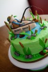 fishing boat and pond birthday cake