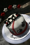 red, black and white bulldog Graduation Cake 2011