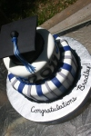 Graduation cake blue and black