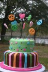 Groovy hippy chick birthday cake