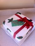 Holly present Christmas cake