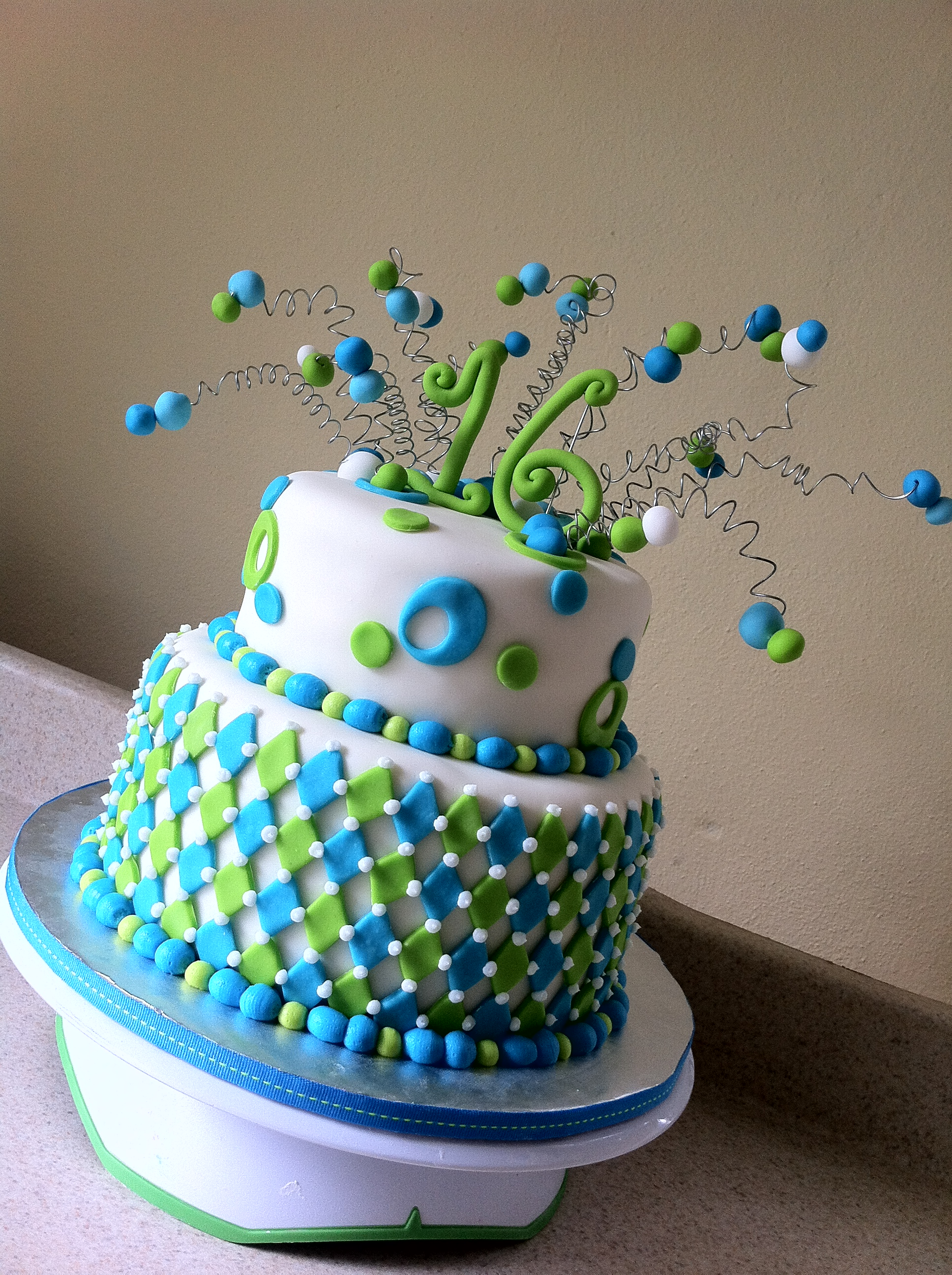 Lime Aqua Harlequin 16 Birthday Cake Published November 12 2017 At 1936 2592