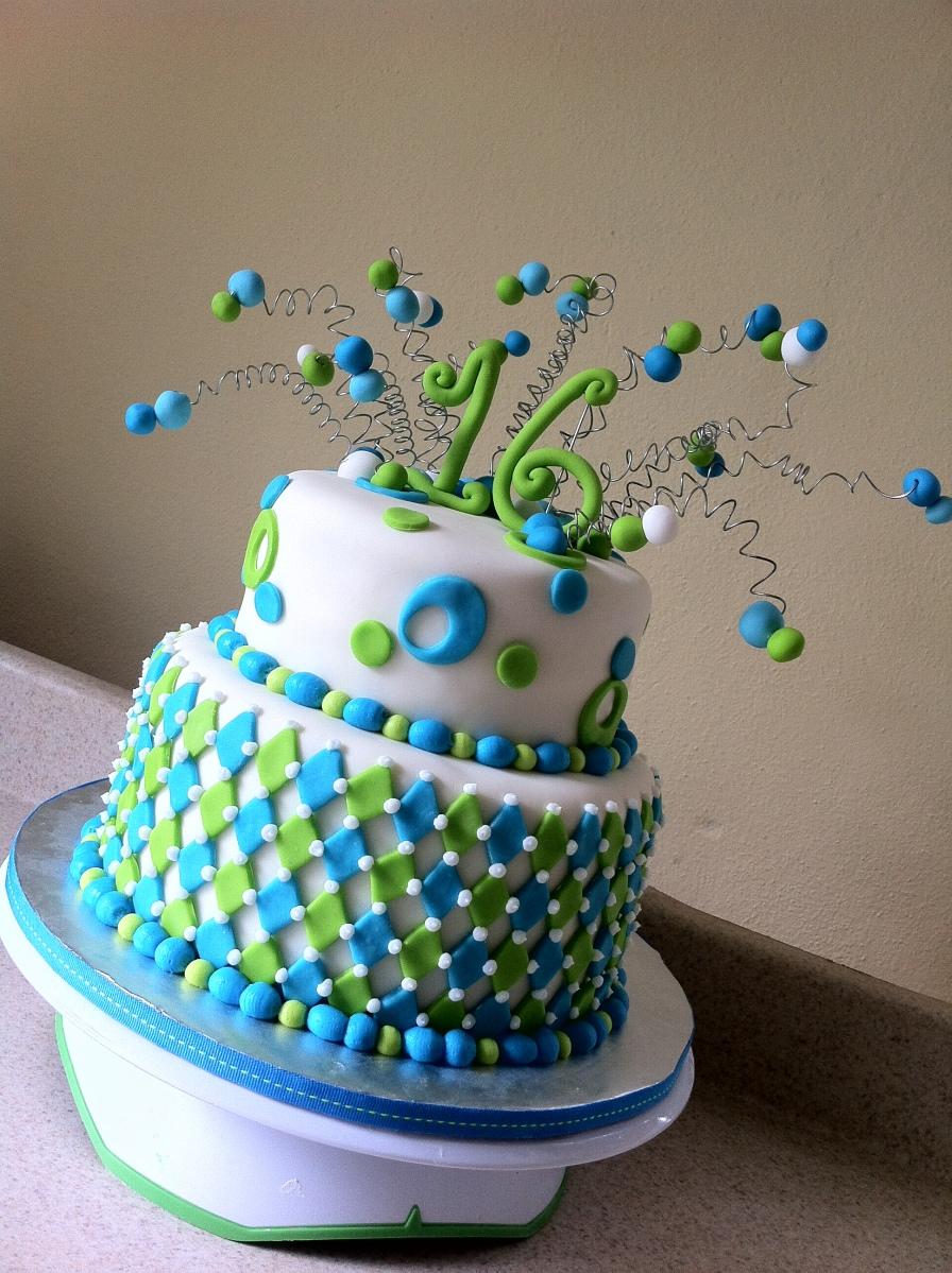 Lime Aqua Harlequin 16 birthday cake