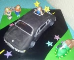 Turning 13 is fancy with a limo! Sculpted limo, 5 gumpaste figures and decorated cake board. Feeds 20-25. MSRP $175
