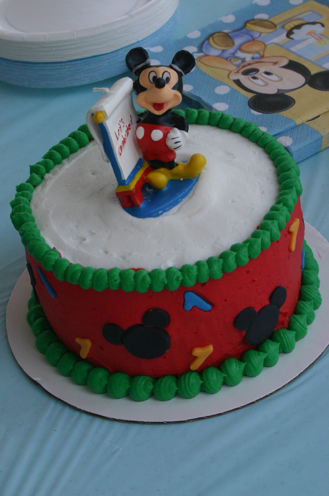 Mickey mouse 1st birthday smash cake in red and green this cake was