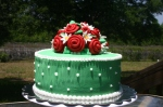Mint green red roses and daisies birthday cake