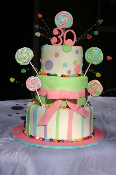 Pastel candy and lollipops birthday cake