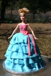 pink and blue ruffle skirt Barbie doll birthday cake