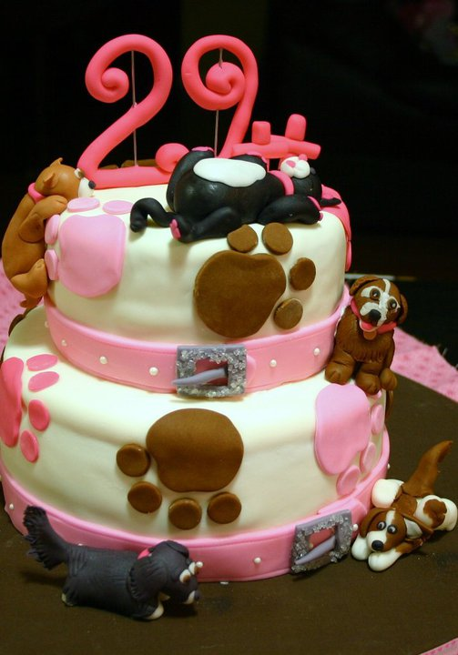 Pleasing Pink And Brown With Dog Collar Border Custom Pet Birthday Cake Funny Birthday Cards Online Overcheapnameinfo