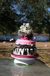 pink and zebra striped bow sweet 16 birthday cake