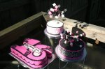 Pink black and white sculpted Sweet 16 triple cake