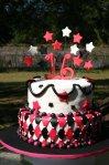 pink black harlequin sweet 16 cake