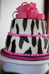 pink border and bow zebra print birthday cake