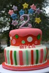 Pink Dora stars birthday cake