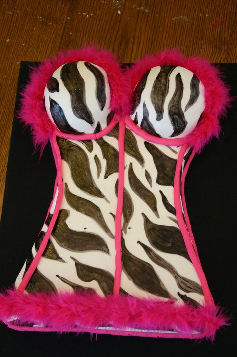 pink feathers and zebra print lingerie cake