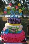 Pink ruffle skirt 80s birthday cake