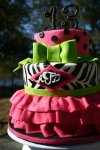 Pink skirt zebra print monogrammed 13th birthday cake