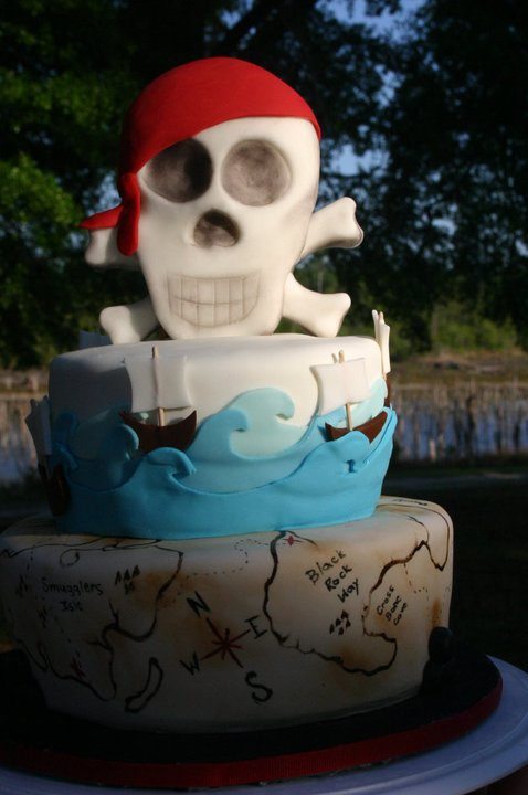 pirate map skull and crossbones birthday cake