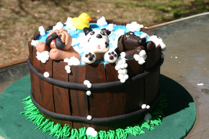 Puppy Bath Tub Bubbles Birthday Cake