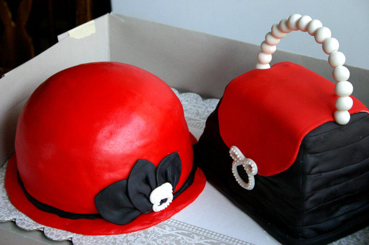 red and black hat and purse birthday cake