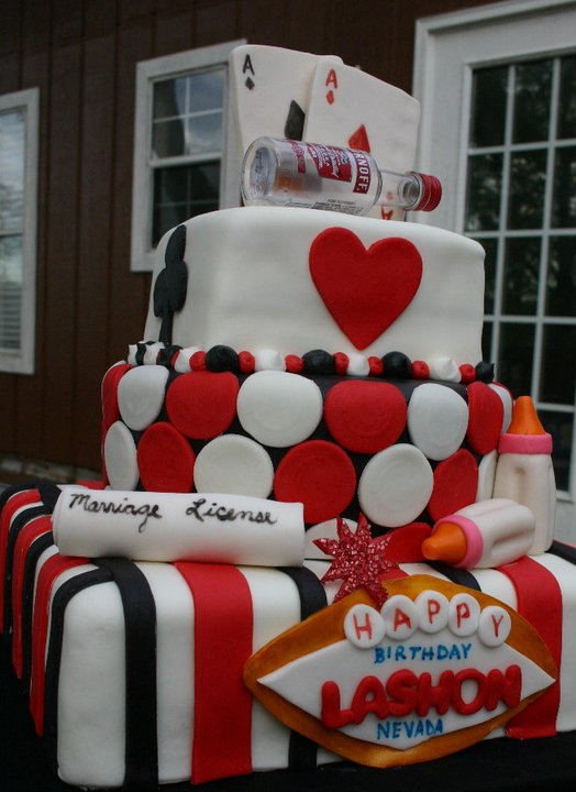 Red Black And Gold Vegas Birthday Cake Lolo S Cakes Sweets