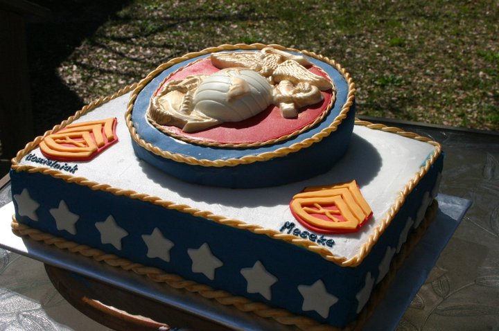 red white and blue Marine Corps promotion cake