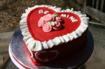 Red with white lace box of chocolates valentine cake
