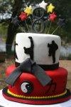 red yellow black and white Karate birthday cake