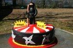red and white rising sun ninja birthday cake