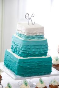 Ruffled Teal wedding cake