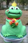 sculpted frog prince with water lilies birthday cake