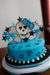 teal girly skull birthday cake