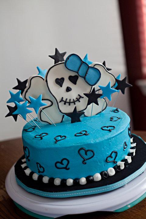 teal girly skull birthday cake