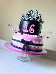 zebra and pink sweet 16 cake